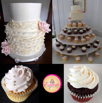 2 Tier Buttercream Wedding Cake Decorated With Fondant Ruffles And Handmade Blush Sugar Roses Along With