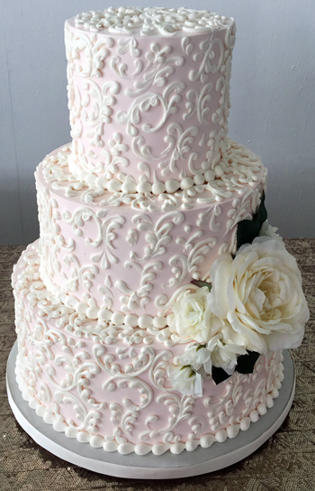 Buttercream wedding cakes york pa buttercream wedding cakes 3 tier blush buttercream wedding cake decorated with buttercream scrolls and silk flowers lauxmont farms wrightsville pa junglespirit Gallery