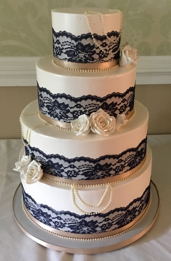 4 Tier Buttercream Wedding Cake Decorated With Lace Pearls And Handmade Sugar Roses The Country Club Of Harrisburg PA
