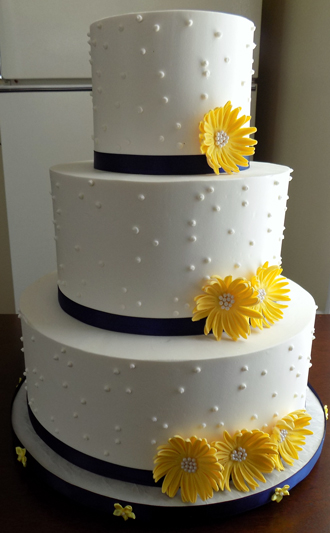 3 Tier Buttercream Wedding Cake Decorated With Swiss Dots Navy Blue Ribbons And Yellow Hand Made Gum Paste Sugar Daisies
