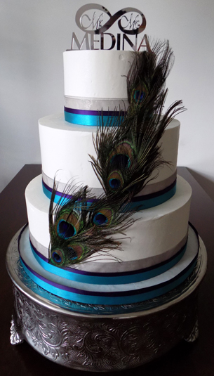 3 Tier Pea Themed Ercream Wedding Cake Is Decorated Feathers Silver Plum Turquoise Ribbons Cakes Manchester Pa