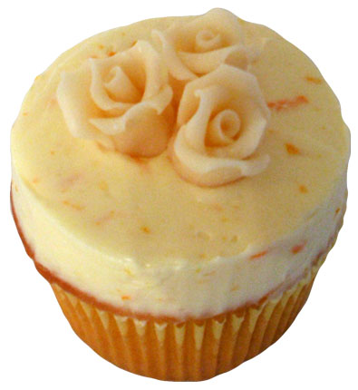 Vanilla cupcake with orange buttercream