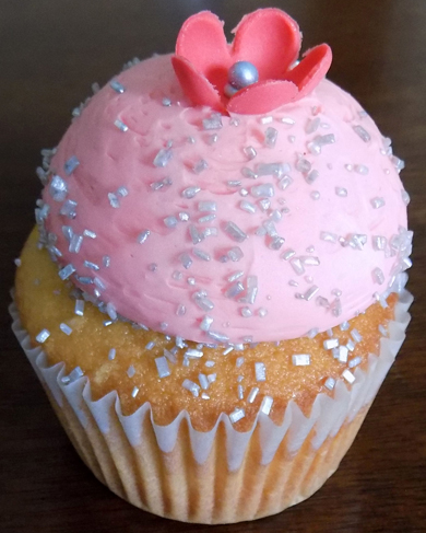 Caramel cupcakes, filled with chocolate buttercream icing, topped with dollops of coral tinted vanilla buttercream icing and decorated with silver sugar crystals and small coral flowers