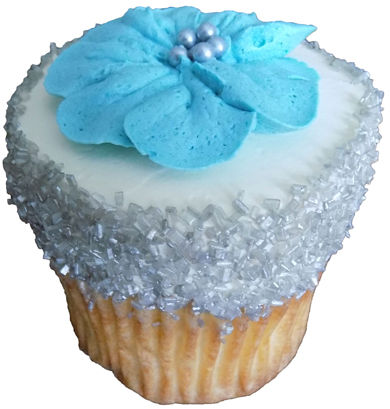 Brown sugar/caramel cupcakes, filled with chocolate buttercream, iced with vanilla buttercream and decorated with silver sugar crystals and blue buttercream flowers