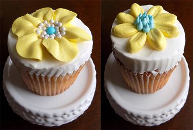 White vanilla cupcakes, filled with chocolate buttercream, iced with vanilla buttercream and decorated with yellow buttercream flowers - cupcakes York PA