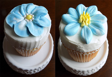 White vanilla cupcakes, filled with chocolate buttercream, iced with vanilla buttercream and decorated with light blue buttercream flowers - cupcakes York PA