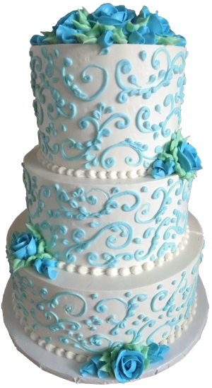 3 Tier Light Blue And White Buttercream Wedding Cake Delivered In Dillsburg PA Cakes